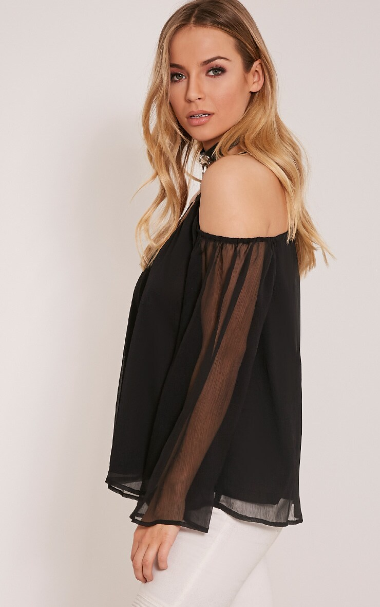 Zeta Black Cold Shoulder Chiffon Top 4