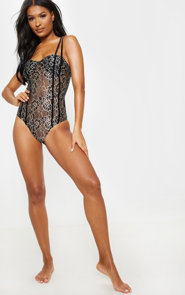 Black Double Strap Embroidered Lace Body  5