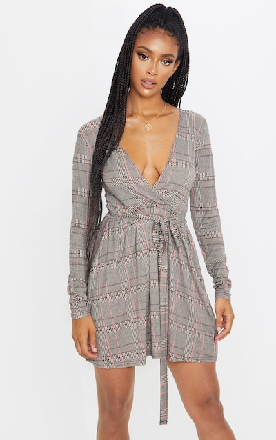 Beige Check Print Wrap Long Sleeve Tea Dress
