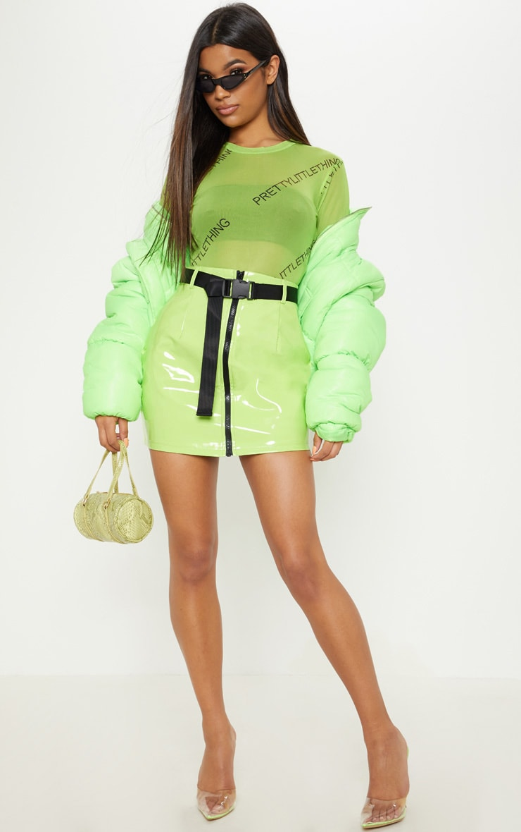 Neon Lime Vinyl Zip Front Belted Mini Skirt 5