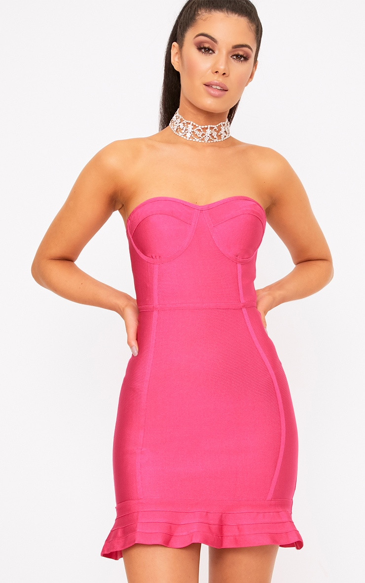 Presli Fuchsia Bandage Frill Hem Bodycon  Dress  1