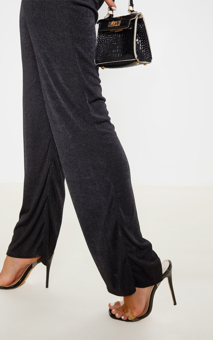 Black Acetate Slinky Wide Leg Pants 5