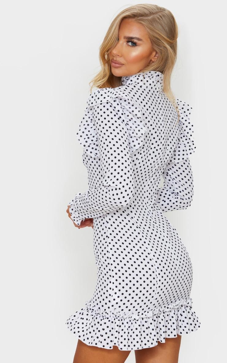 White Polka Dot Cup Frill Detail Bodycon Dress 2
