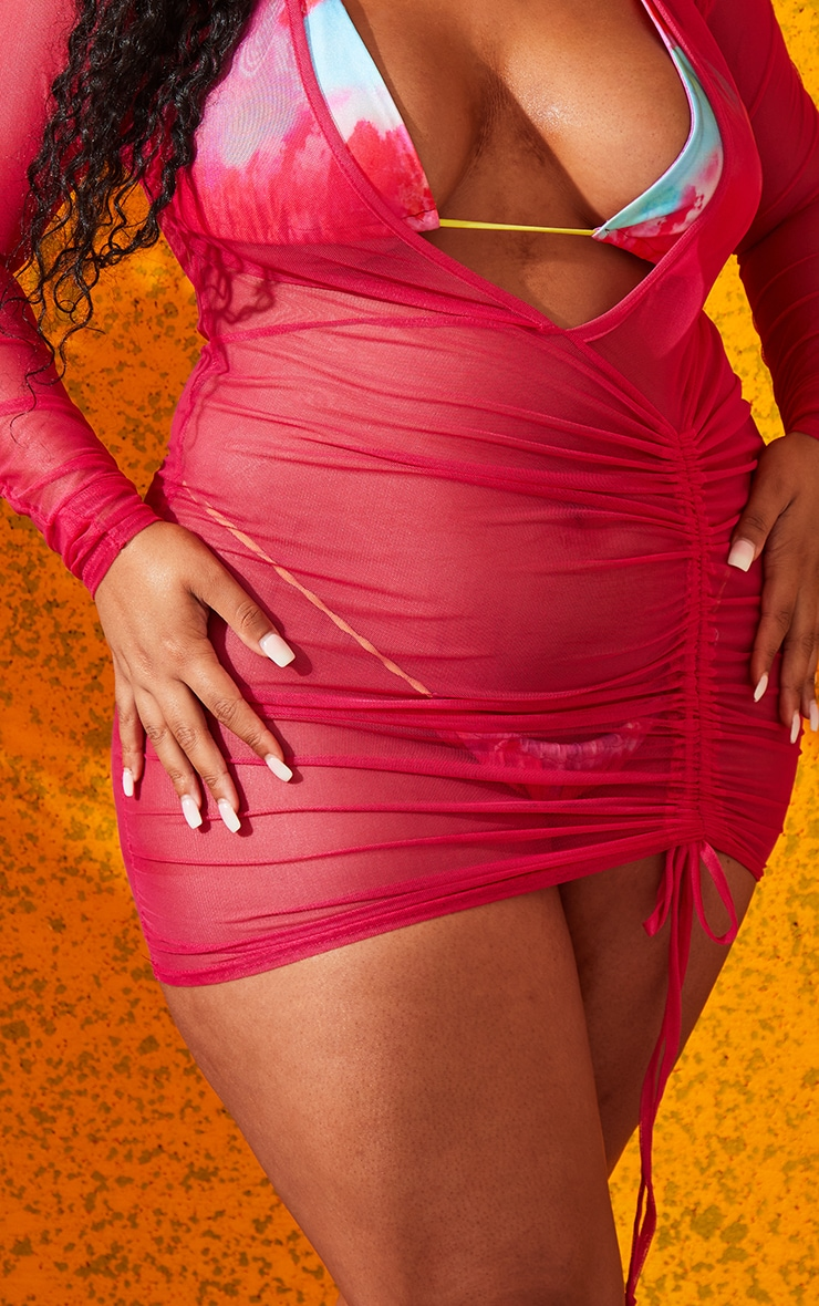 Plus Hot Pink Mesh Ruched Plunge Beach Dress 4