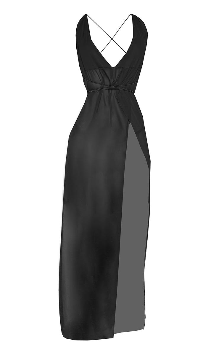 Black Chiffon Plunge Beach Dress 6