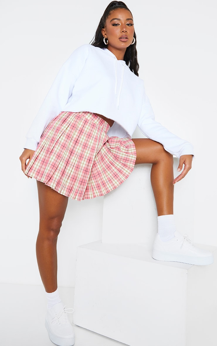 Pink Woven Check Pleated Tennis Skirt 3