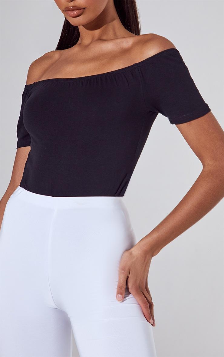Black/White 2 Pack Basic Bardot Short Sleeve Thong Bodysuit 4