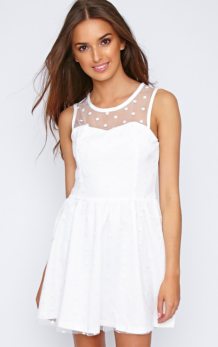 Arissha White Lace Spot Dress 1
