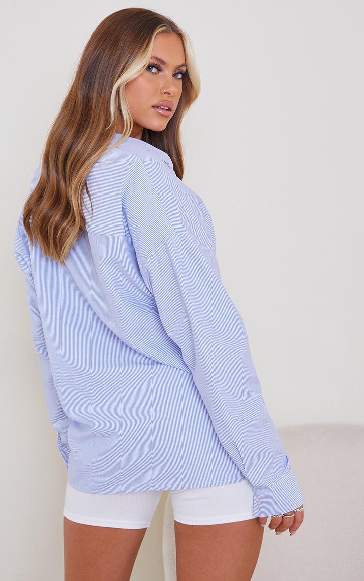 Chemise oversize en coton bleu à rayures 2