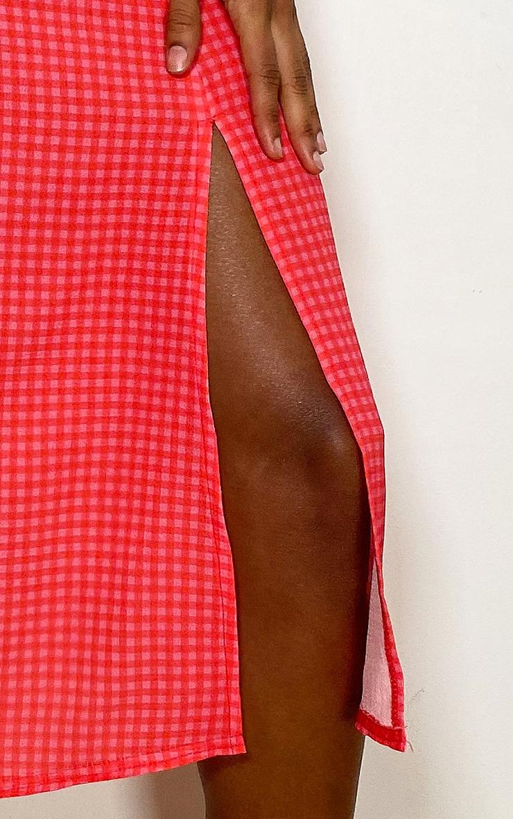Pink Gingham Floaty Midi Skirt 4