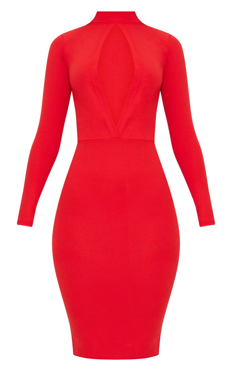 Red Keyhole Cut Out Midi Dress 3