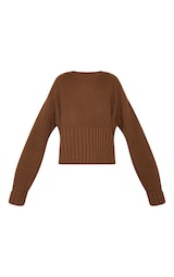 7a6a4b1ffde64 Brown Ribbed Hem Knitted Sweater image 3