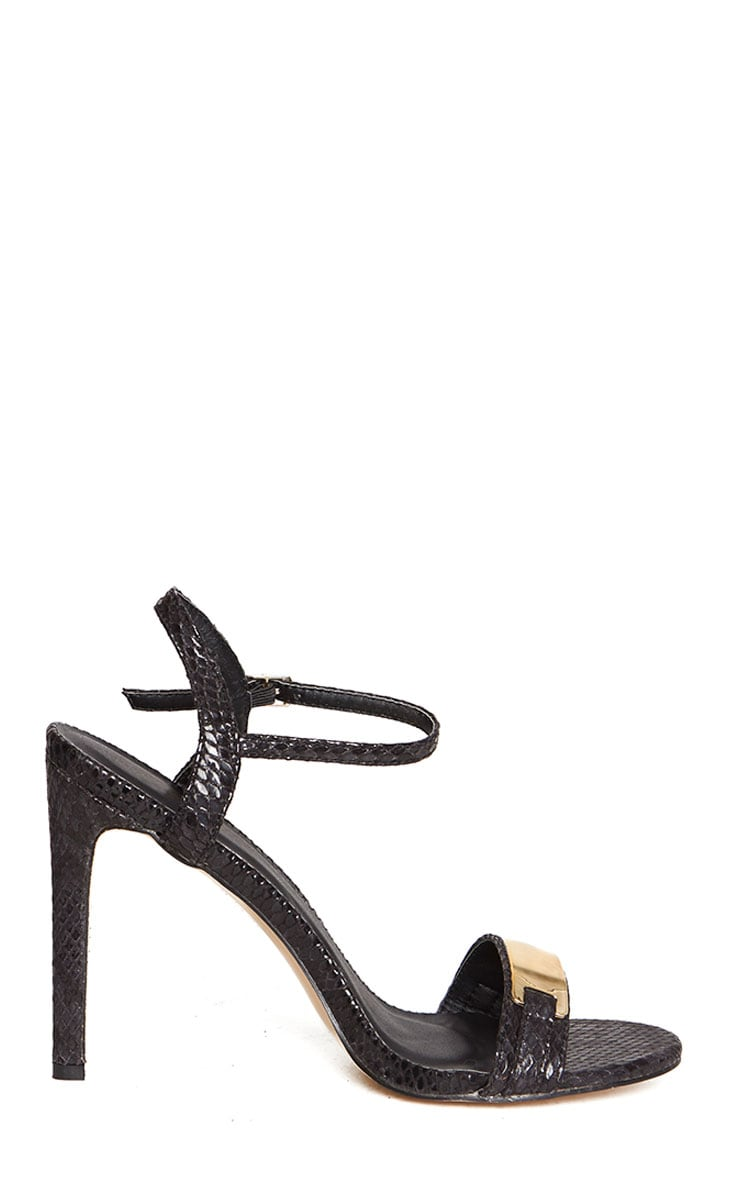 Jamie-Lee Black Gold Detail One Strap Sandals 5