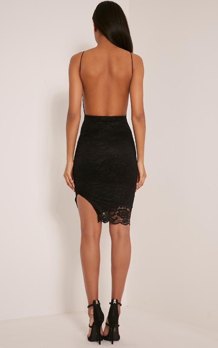 Maddie Black High Neck Lace Midi Dress 2