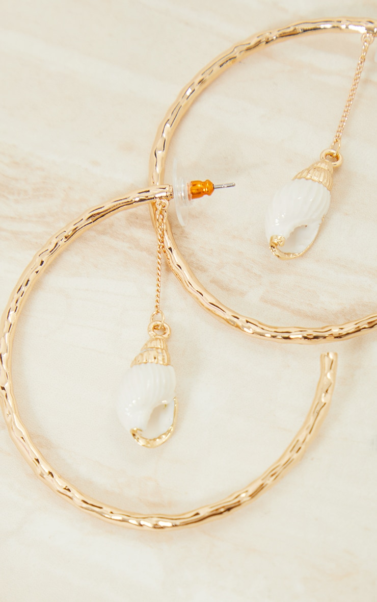 Gold Hammered Shell Drop Hoop Earrings 3