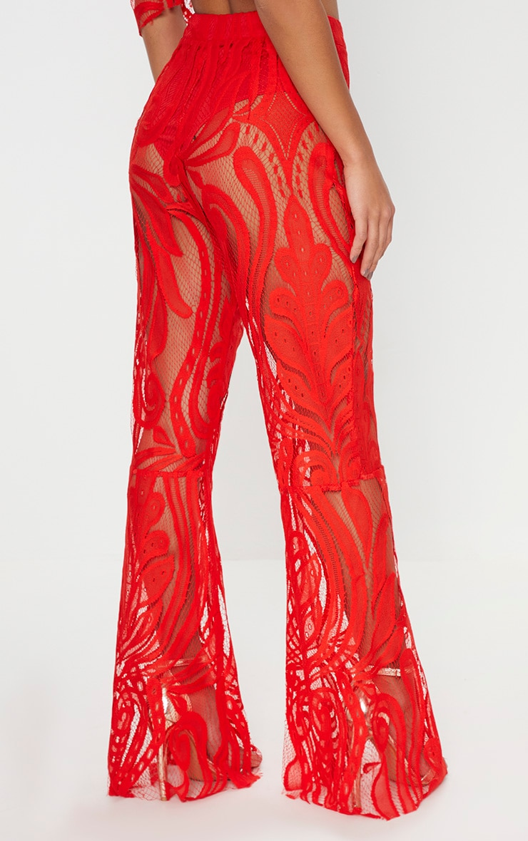 Petite Red Lace Flared Trousers 4