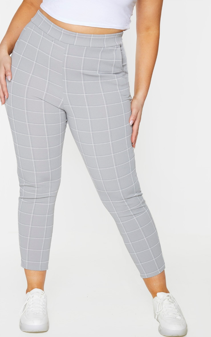 PLT Plus - Pantalon skinny à carreaux gris anthracite 2