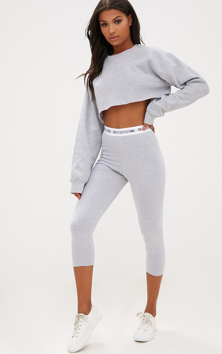 PRETTYLITTLETHING Grey Marl Cropped Leggings 1
