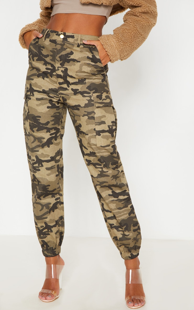 Khaki Camo Pocket Detail Cargo Trouser 2
