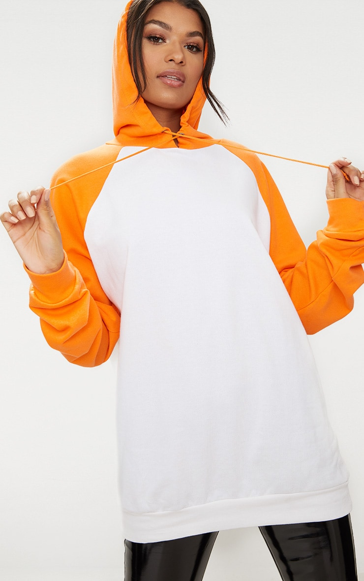 White/Orange Contrast Sleeve Oversized Hoodie 1