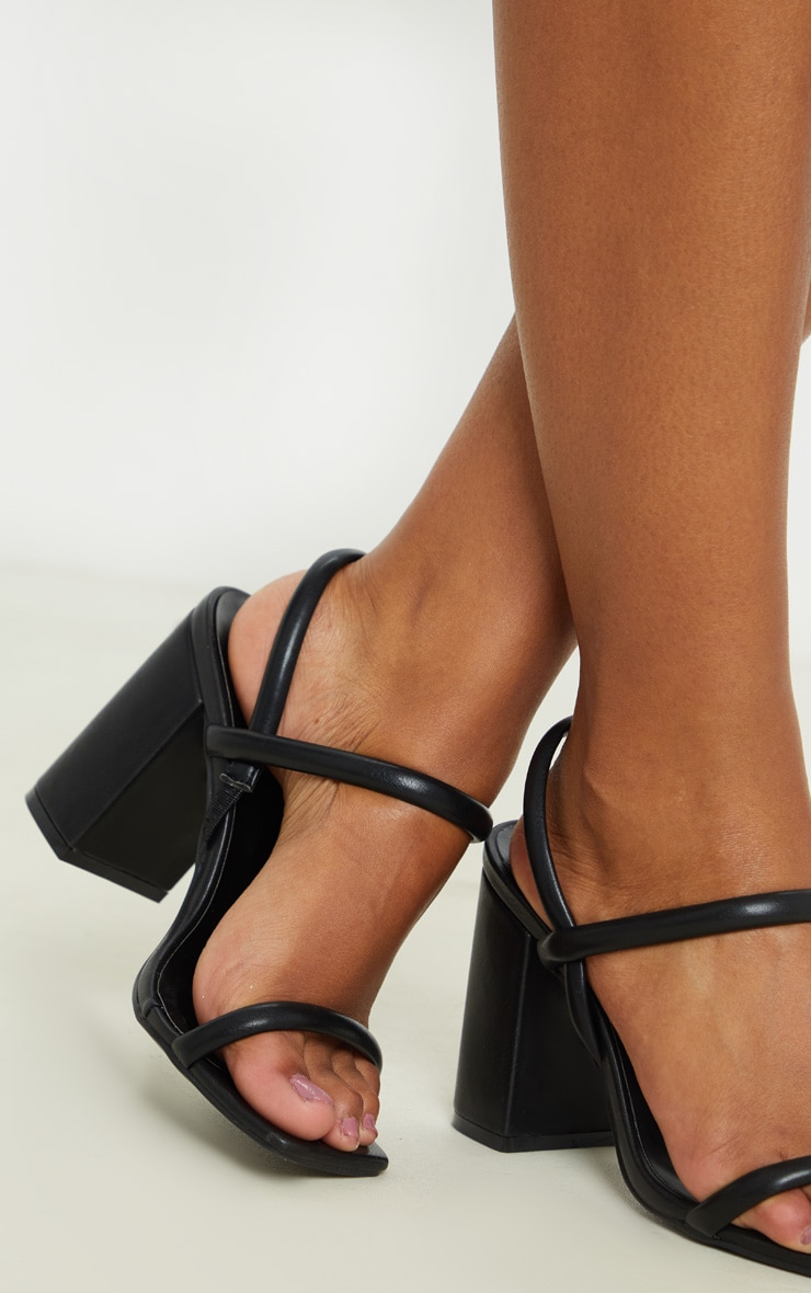 Black Wide Fit Chunky Block Heel Slingback Sandal 3