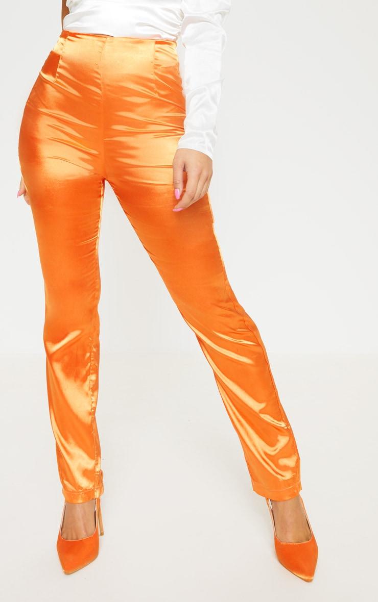 Petite Orange Straight Leg Satin Pants 2