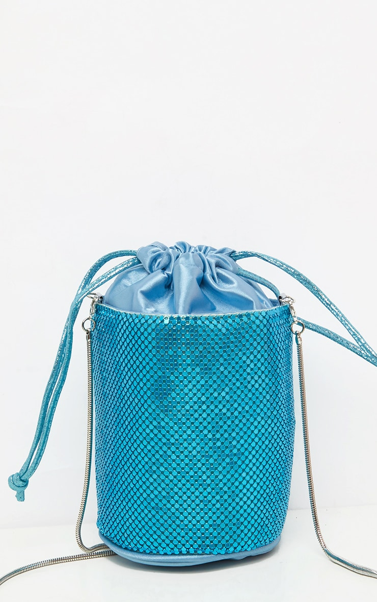 Blue Chain Mail Bucket Pouch Bag 3