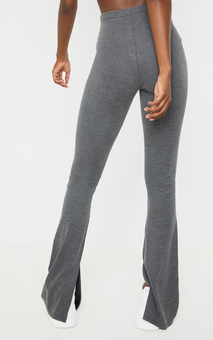 Tall Black Washed Rib Split Hem Skinny Kickflare Pants 3