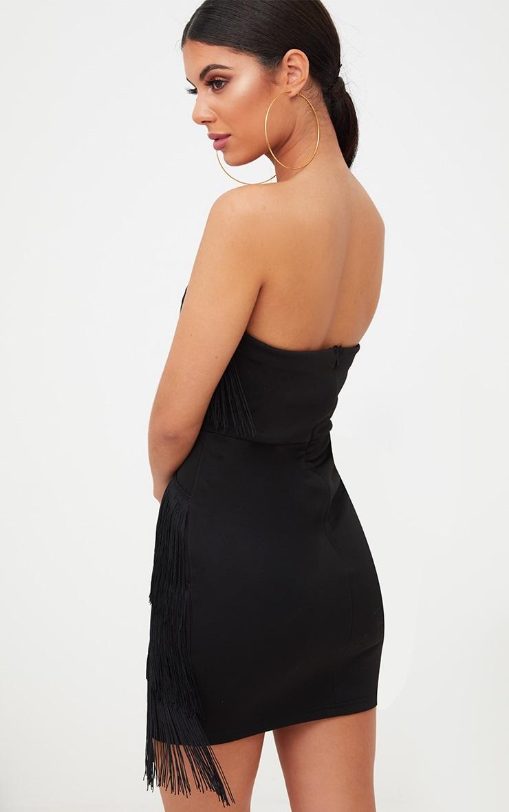 Black Tassel Detail Plunge Bandeau Bodycon Dress 2