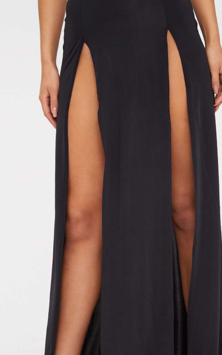 Black High Neck Cut Out Detail Extreme Split Maxi Dress 5