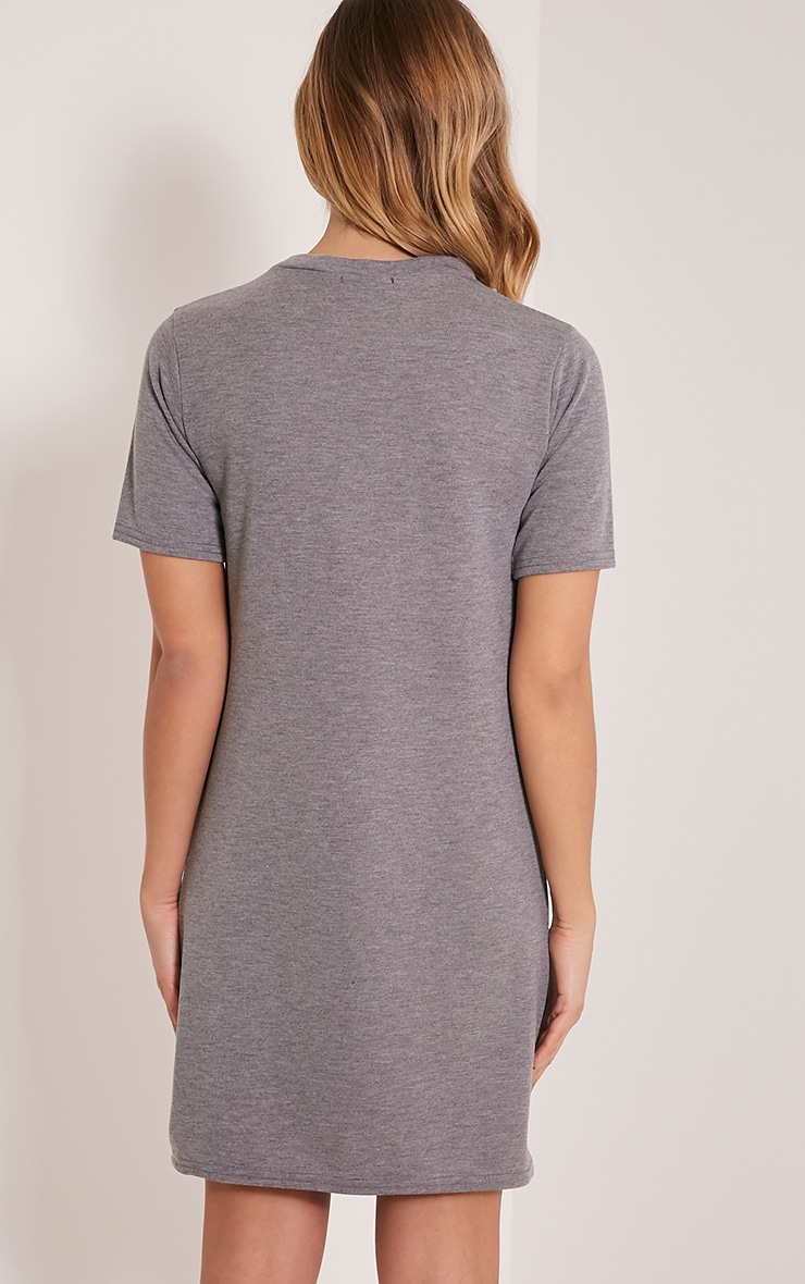 Kendie Grey Zip Detail T Shirt Dress 2