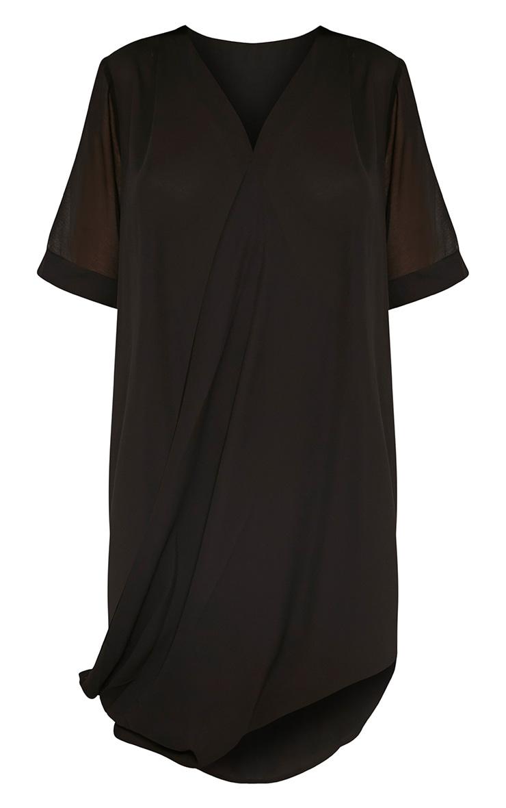 Jenia Black Wrap Front Chiffon Dress 5