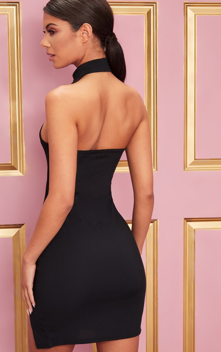 Black Ribbed High Neck Split Detail Bodycon Dress 2