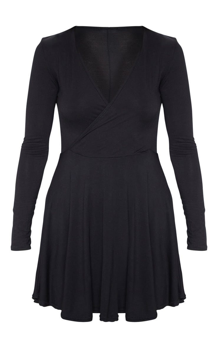 Black Jersey Wrap Long Sleeve Skater Dress 3