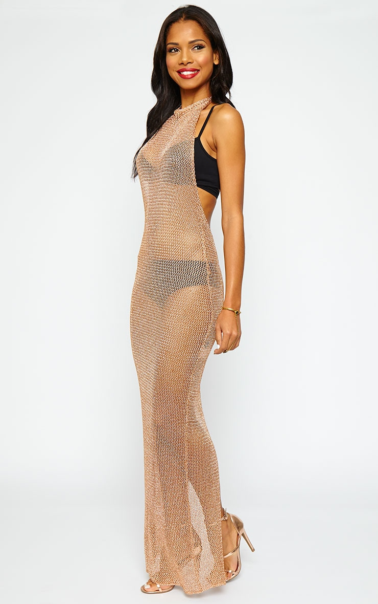 Sahara Gold Metallic Knitted Maxi Dress 5