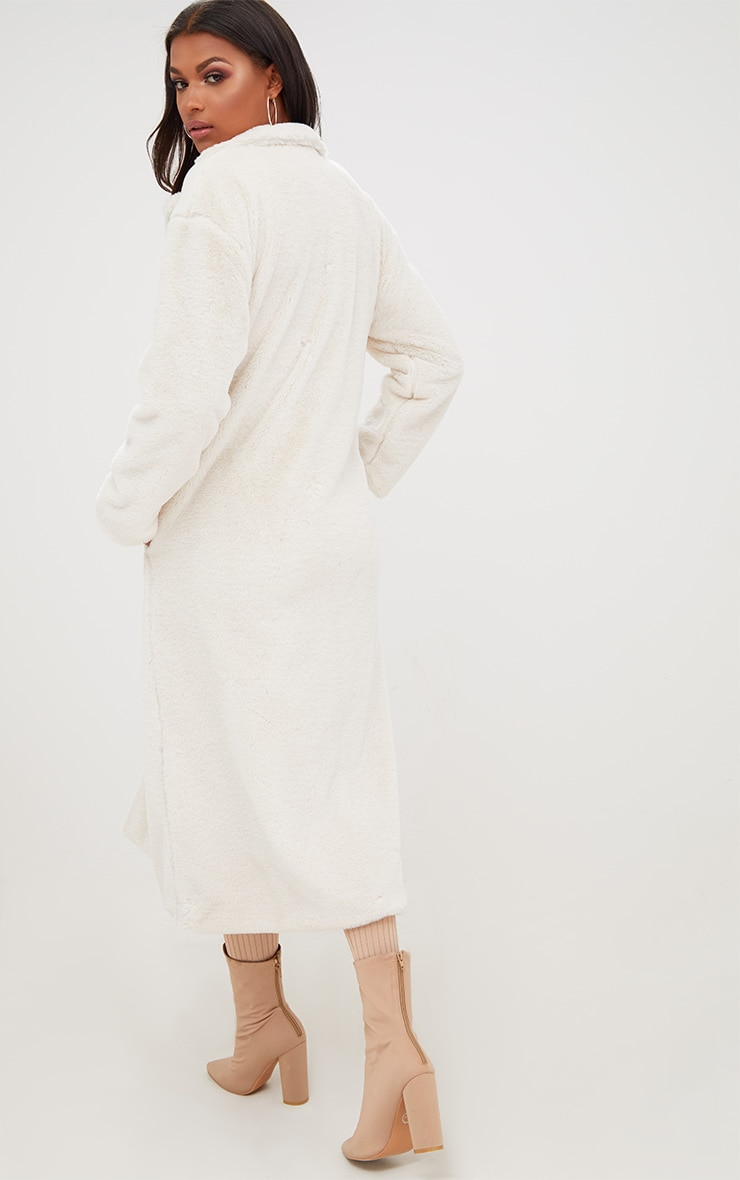 Cream Longline Faux Fur Coat 2