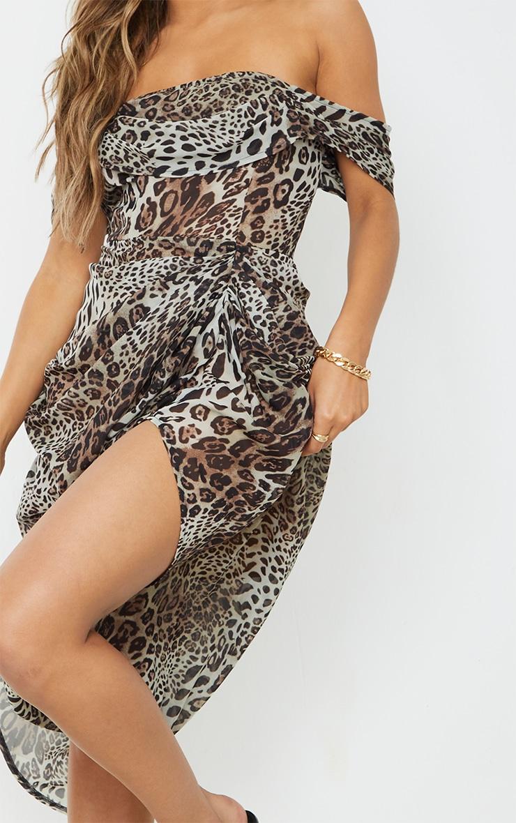 Tan Leopard Print Chiffon Draped Bardot Midi Dress 4