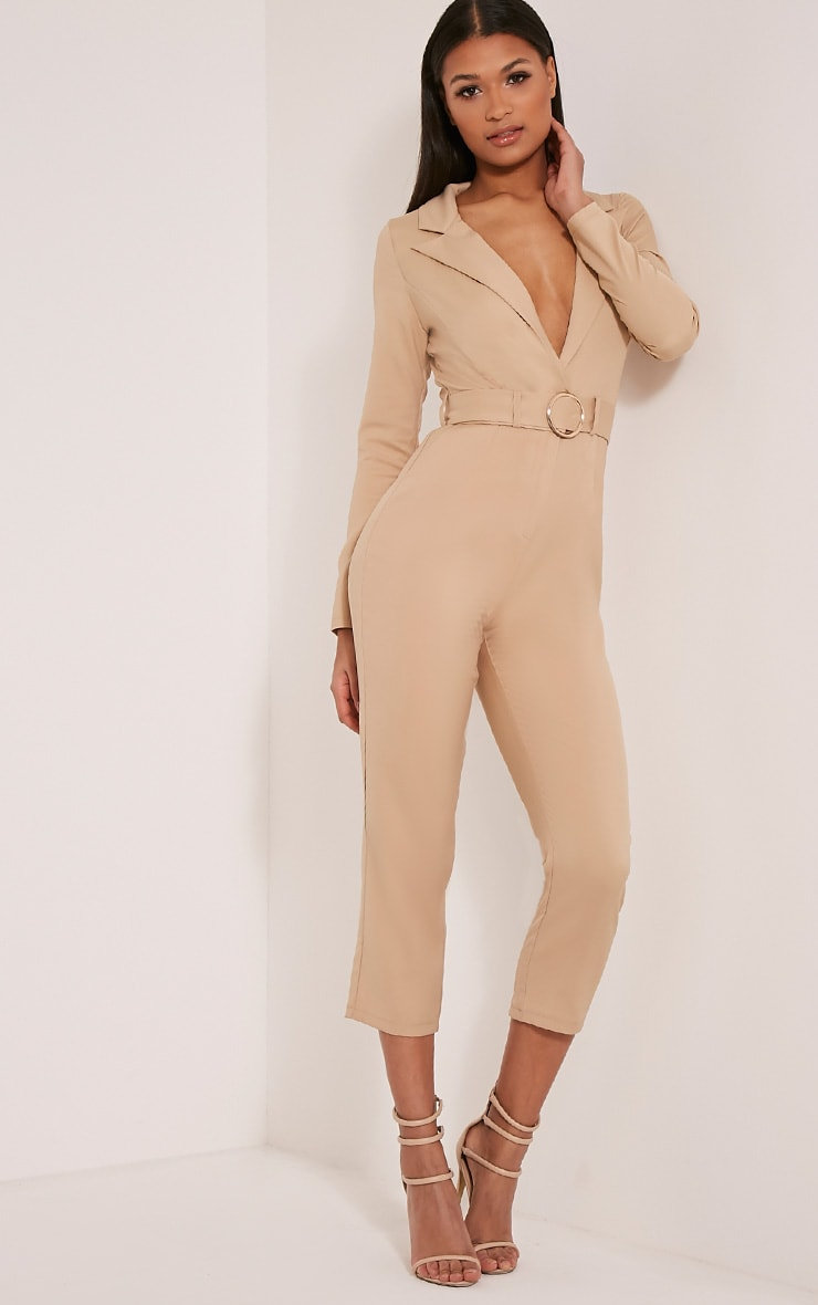 Mell Taupe Wrap Buckle Crop Jumpsuit 5