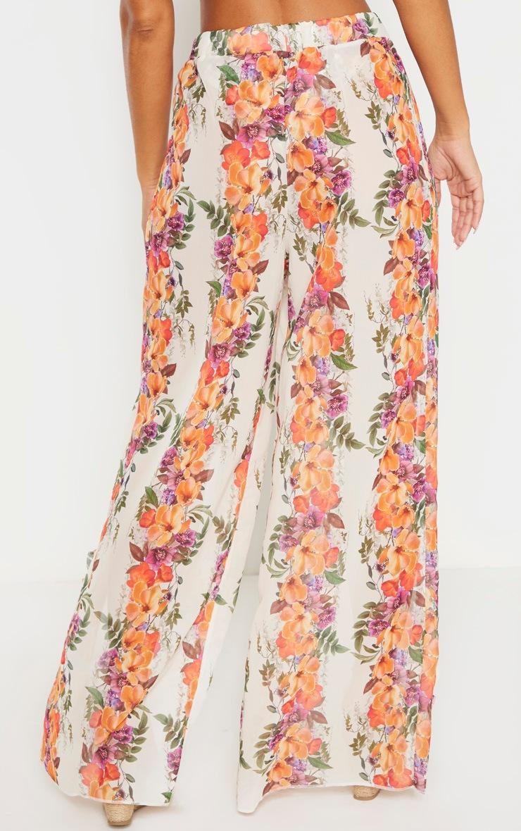 Pale Floral Frill Split Leg Beach Pants 3