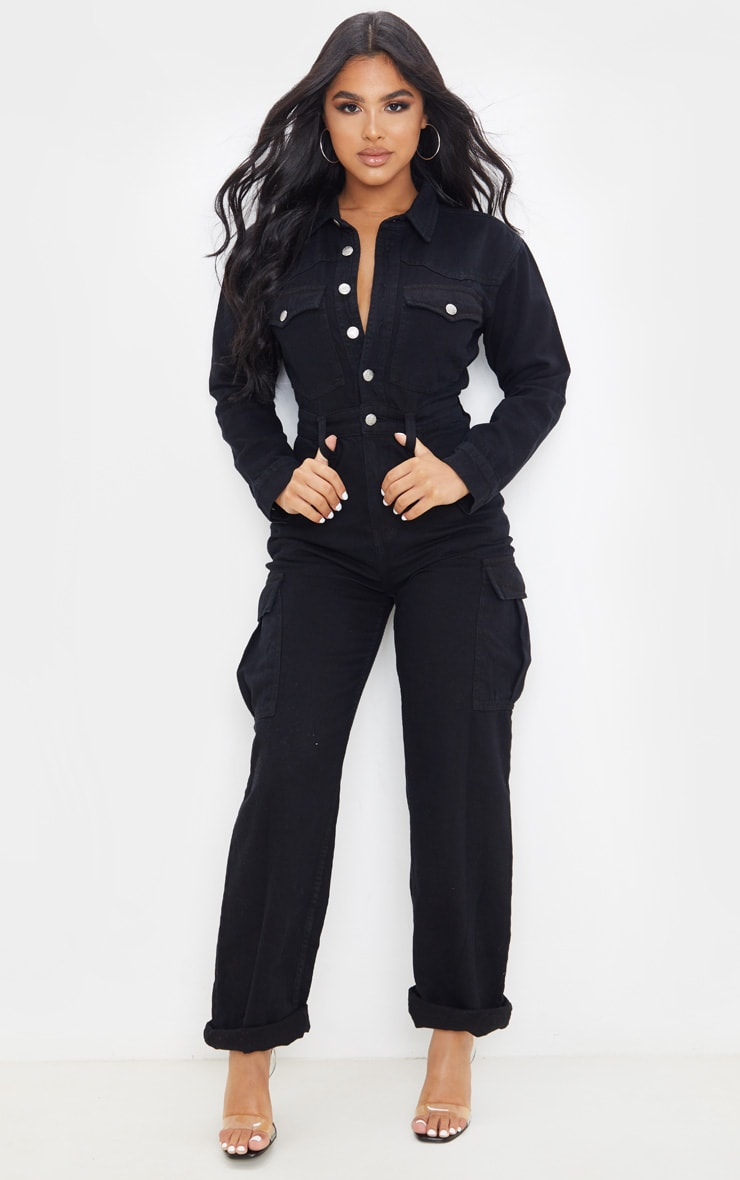 Petite Black Denim Wide Leg Jumpsuit 1