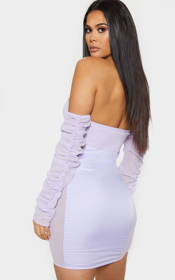 Lilac Mesh Ruched Bodycon Dress 2