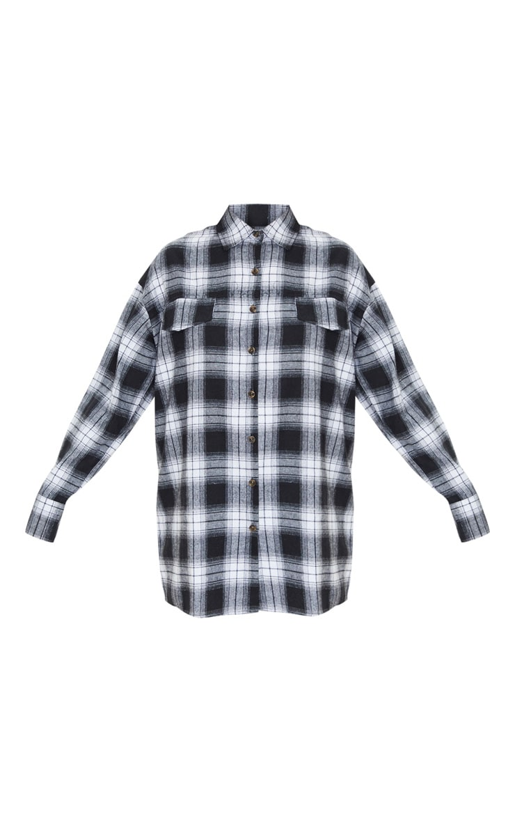 Black Checked Oversized Pocket Detail Shirt 3