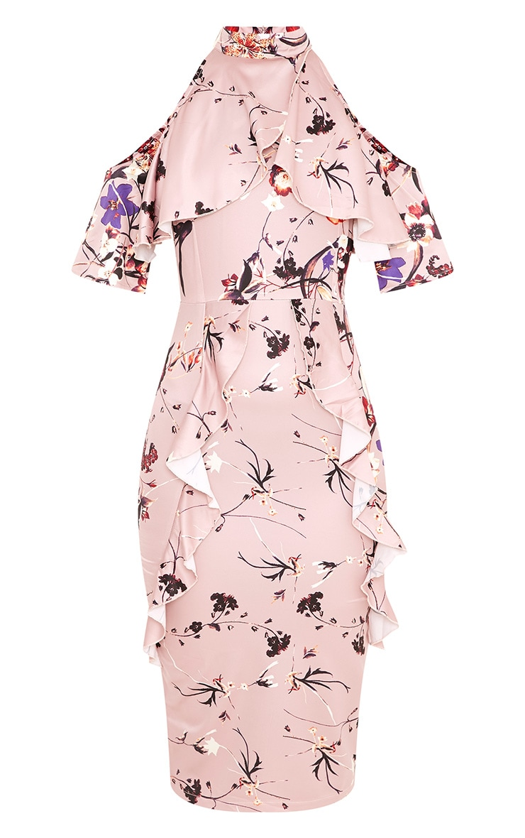 Esmie Blush Floral Cold Shoulder Midi Dress 3