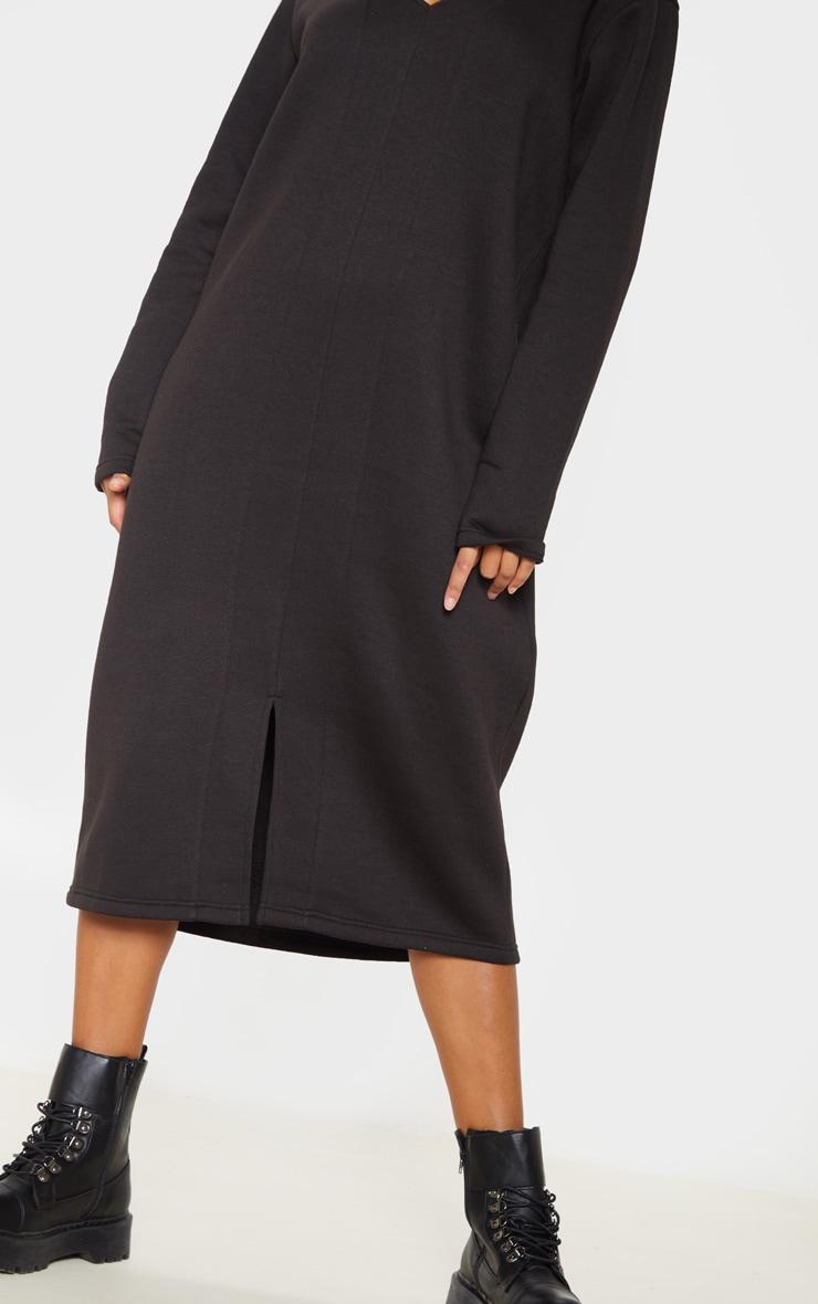 Black Oversized V Neck Split Front Sweat Midi Dress 5