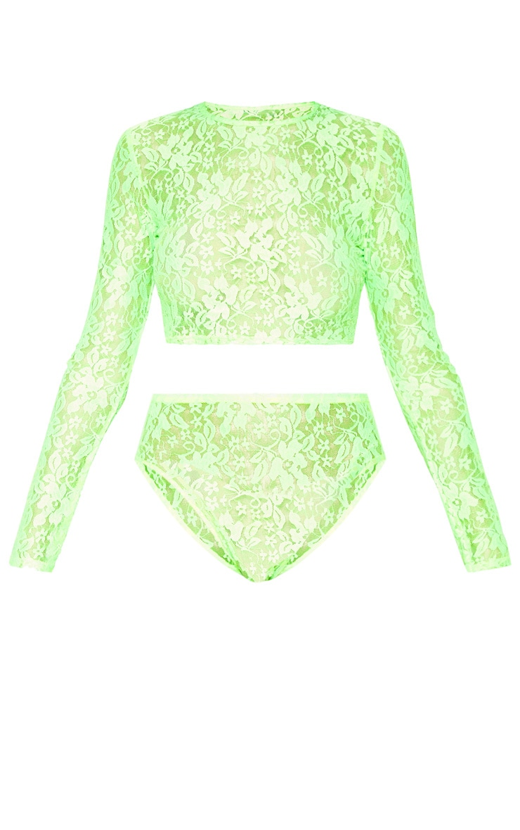 Neon Lime Crop Top And Panties Set 3