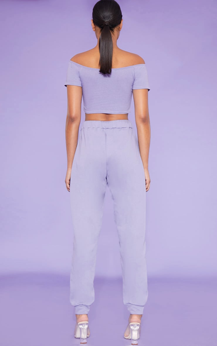 RECYCLED Violet Bardot Short Sleeve Crop Top 5