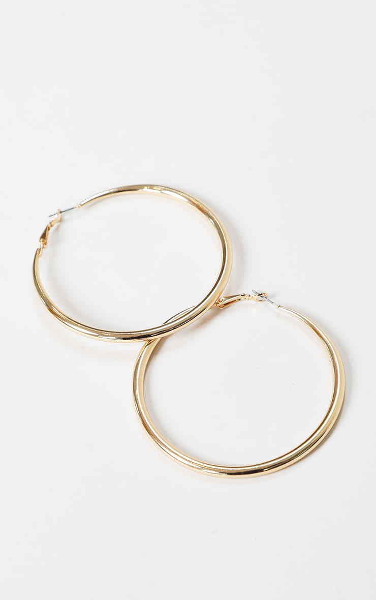 Gold Large Plain Hoop Earrings 2