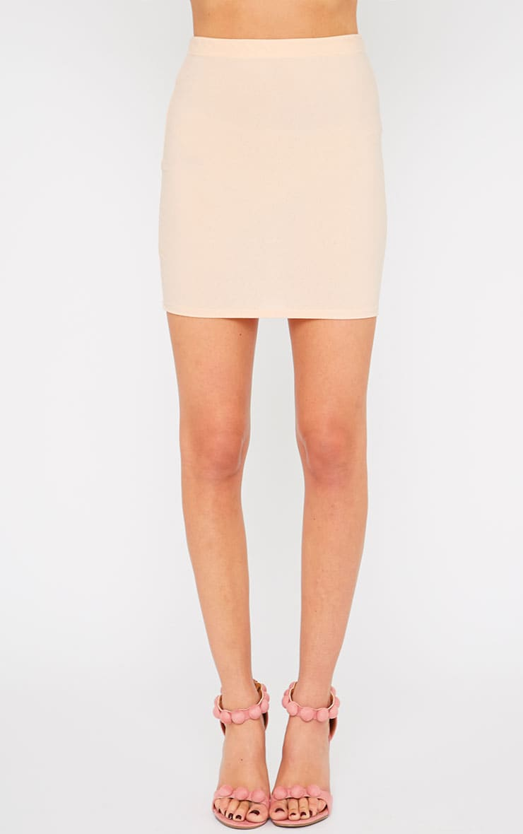 Emilia Nude Crepe Mini Skirt 2
