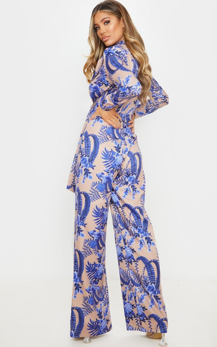 Nude Floral Wrap Detail Blazer Jumpsuit 2