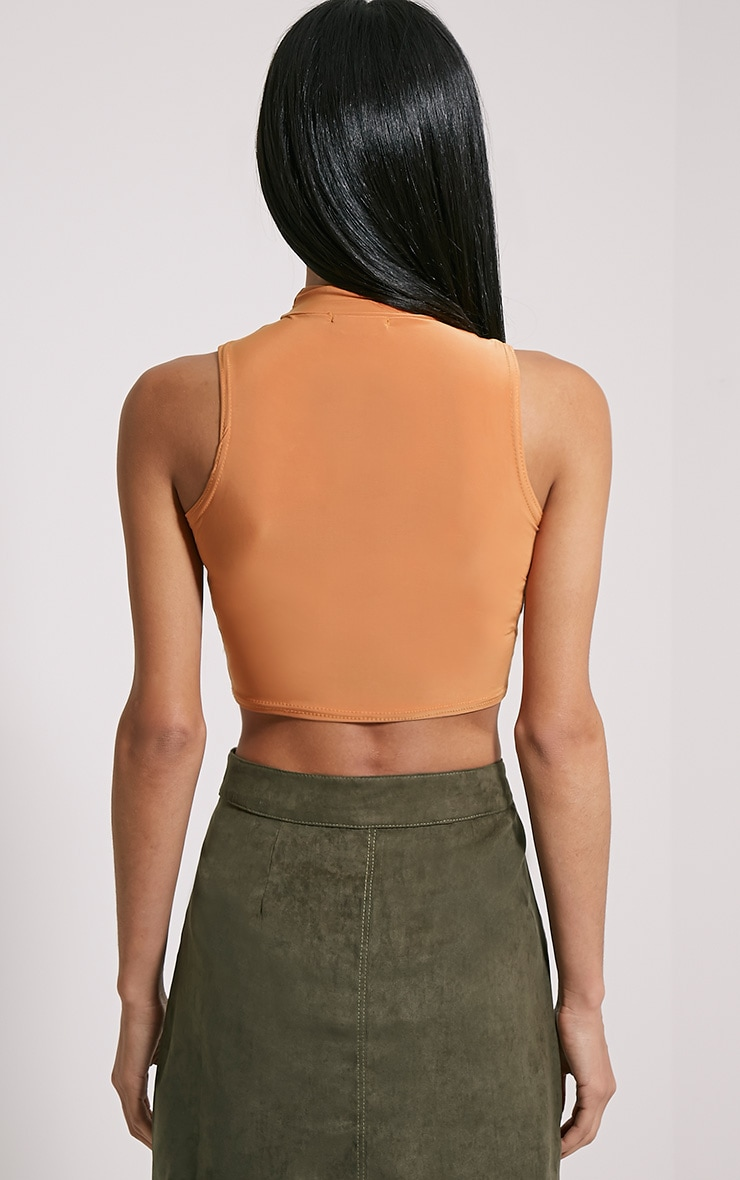Saylor Rust Sleeveless Slinky Crop Top 2